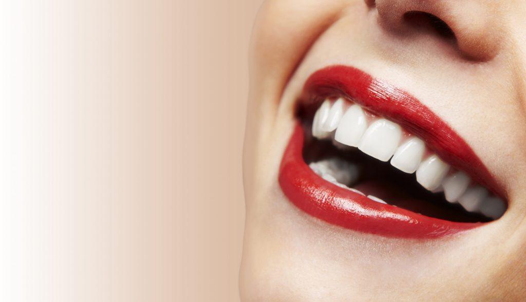 gorgeous red lipstick white teeth
